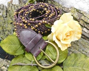Beaded belt - Boho bead belt, Wood Bead Belt,  Hippie bead Belt, brown bead belt -  fashion belt -XL waist   # B 18