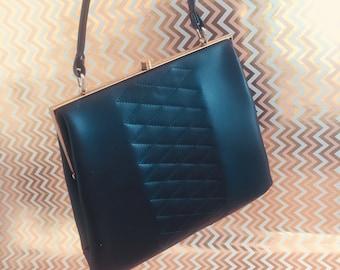 Vintage handbag 70s, black handbag