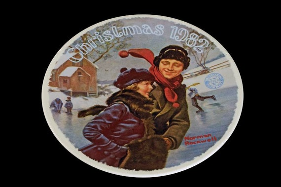 1982 Knowles Collector Plate, Norman Rockwell, Christmas Courtship, Limited Edition, Numbered Plate, Wall Decor, Decorative Plate