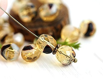 Yellow glass beads 8mm Tortoise Czech round beads fire polished yellow and black faceted beads - 15Pc - 1522
