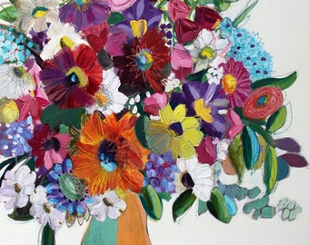Color Me Gorgeous Large FRAMED Mixed Media Floral Painting, Big Flower Arrangement Painting, Flowers Painting FREE SHIPPING