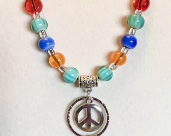 ladies necklace multi color dream catcher peace sign