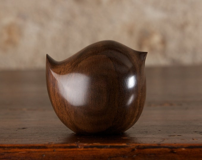 Featured listing image: Round Wooden Wren Sculpture Hand Carved from Black Ebony Wood by Perry Lancaster, Fat Bird Carving