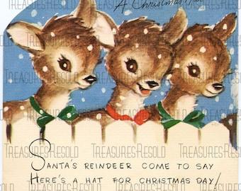 Santa and Reindeer Christmas Card #168 Digital Download