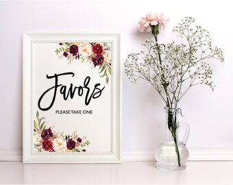 Wedding Favors Sign, Wedding Signs Set, Favors Please Take One Sign, Printable Favors Sign, Printable Wedding Sign, Instant Download, Sign03
