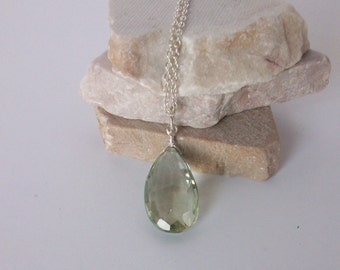 Green Amethyst Necklace/Prasiolite Necklace/Genuine Green Amethyst Necklace/Custom Prasiolite Necklace/Green Amethyst Teardrop Pendant/N0806