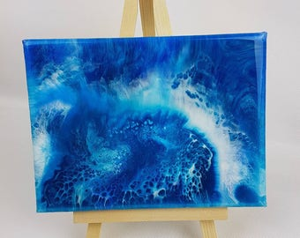 Resin art painting on an easel