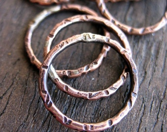 16mm Antiqued Copper Notched Links - set of 4 - 16 gauge Soldered Pure Copper Circles