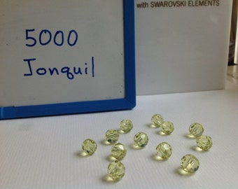 8mm Genuine Swarovski Jonquil Crystal Art. 5000 Round Faceted Beads (12 pieces)