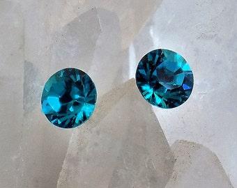 Crystal Earrings 8.4mm Round Dentelle Swarovski Rhinestones, Stud-Post Earrings, 1 Pair, Surgical Steel Posts, 12 Colors