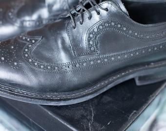 Vintage-style Samuel Windsor Prestige Split Brogue in black - size 11