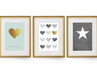 Minimalist wall art, Print set, Set of 3 prints, Wall art set, Modern art, Art print set of 3, Large wall art, Bedroom wall art, Giclee set
