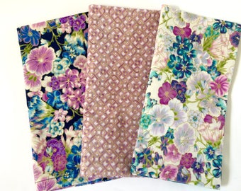 Large Cloth Napkins, Spring, Easter Combo Set of 6.  Metallic Gold Contrasting Florals Tile Print, Violets,Lilacs,Blues on Cream & Navy Blue