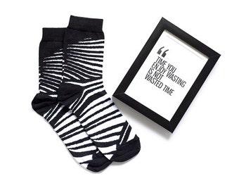 Zebra socks, animal pattern socks, funny socks, women socks, casual socks, cool socks, gift socks, cotton socks, made in EU