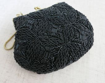 Vintage Walborg Black Beaded Purse,  Vintage Black Beaded Purse, Vintage Evening Bag, Elegant Beaded Purse, Vintage Black Evening Bag - V276