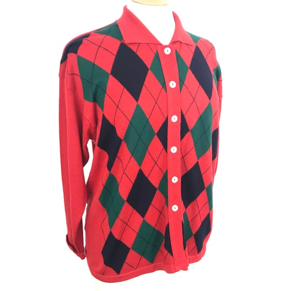 Vintage argyle, wool cardigan, red cardi, longline knit, 1920s style, pure wool, 20s look , vintage knit, UK 16, 80s does 20s