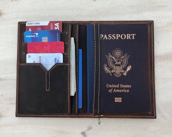 Leather Passport Holder,Leather Passport Wallet, Travel Wallet,Passport Cover,minimalist,portefeuille en cuir de passeport