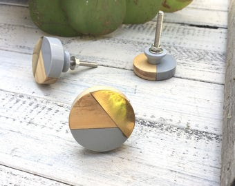 Geometric Knobs, Gold And Gray Wooden Knobs, Drawer Knobs, Wood Knobs,  Dresser