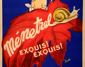 Food Escargots Snails Menetrel French Paris France Vintage Poster Repro FREE SHIPPING