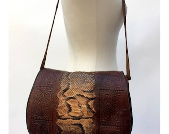 1970s hand tooled leather and snake skin large Shoulder BAG// 1970s tooled leather handbag