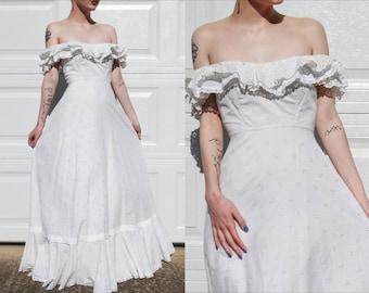 70s Off the Shoulder Ruffle White Eyelet Maxi Dress