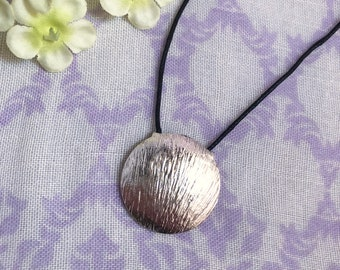 """Upcycled Silver Shell Necklace - 18"""" Length - Black Cord with Clasp and Extender"""