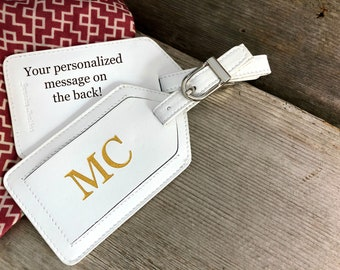Luggage tag, personalized luggage tag, monogram luggage tag, luggage tags personalized, custom luggage tag,leather wedding gift white*