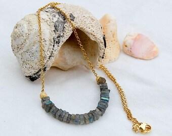 Labradorite Gold necklace, Gold necklace, Grey gem necklace,  Labradorite and Gold Bar Necklace,