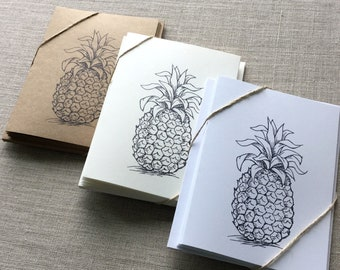 Set of 6 Pineapple Cards, pineapple card set, pineapple note cards, blank pineapple cards, greeting cards, tropical cards, fruit cards