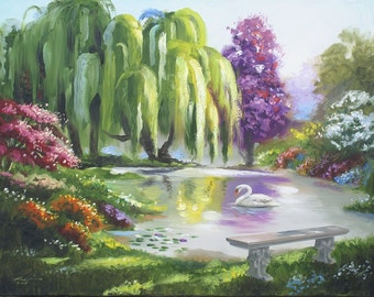 Swan Weeping Willow painting by RUSTY RUST 30x40 oils on canvas / S-124