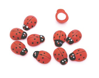 25 Large Red Wooden Ladybugs with Adhesive Back - Perfect for Card making, craft, scrapbooking, party favor decorations