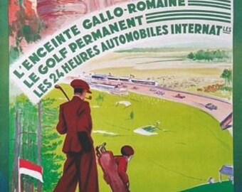 Vintage Le Mans French Tourism Poster A3 Print