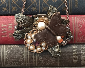 Butterfly Necklace- Vintage Brooch Necklace- Butterfly Jewelry- Repurposed Jewelry Necklace- Art Neckalce- Art Jewelry- Assemblage Necklace