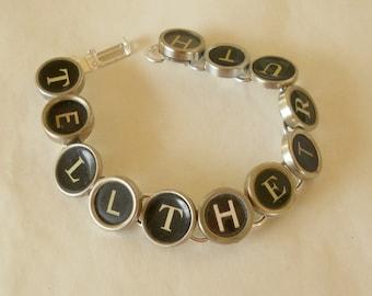 Jewelry with Typewriter Keys - Typewriter Key Bracelet-  Reclaimed Jewelry- Vintage, words of your choice