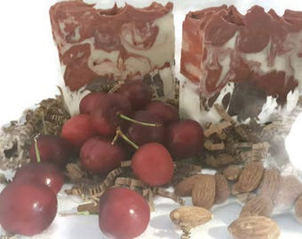 Almond Cherry Soap / almond scented soap / cherry soap / large bar soap / almond fragrance / silky lathering soap / low shipping