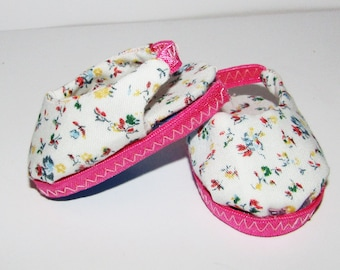 Flowers with Pink Trim Sling Back Shoes made to fit 18 inch American Girl Doll Clothes