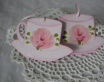 Pink Teacup Wood Ornaments Hand Painted Rose, Glitter Set of 2