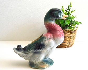 vintage mallard duck planter ceramic duck decor