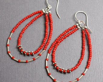 Red Seed Bead Earrings with Tribe Hill Sterling Silver Accents, Red Bead Earrings, Red Earrings, Red Beaded Earrings, Red Hoop Earrings