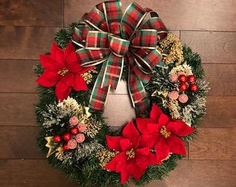 Christmas Wreath with Bow, Christmas Wreaths for Front Door,  Christmas Decorations, Christmas Wreath, Holiday Wreath, Wreath Christmas
