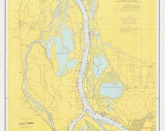 Columbia River Map - Saint Helens to Vancouver - 1968