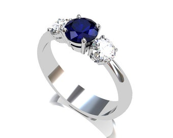 Blue Sapphire ring, White sapphire, Trinity, Sapphire engagement ring, White gold, engagement ring, Blue sapphire, Three stone, multi color