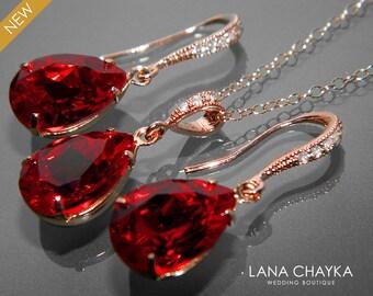 Red Crystal Jewelry Set Wedding Dark Red Earrings&Necklace Set Swarovski Rhinestone Sterling Silver Jewelry Set Bridesmaids Bridal Jewelry