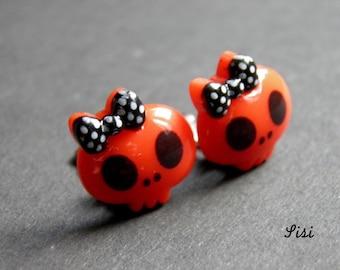 Red Skull earrings kawaii clip