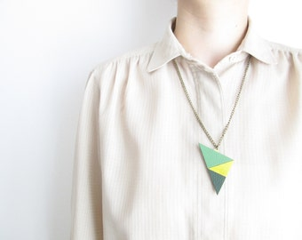 Geometric Leather Necklace Summer necklace Statement necklace Colorful leather necklace Leather bib necklace Recycled leather necklace