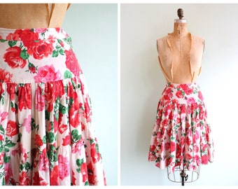 Vintage 50's Inspired Novelty Print Floral Skirt | Size Small