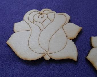 2 roses, wood, 8 x 6 cm (01-0016B)