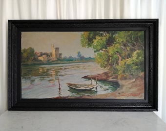 Antique Oil Landscape Painting on Board , French Lake Landscape painting Signed 1920c