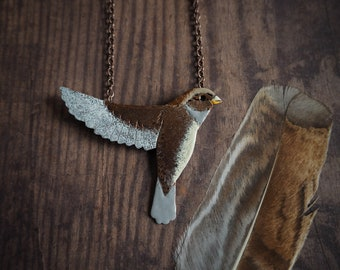 Sparrow necklace, nature inspired bird statement necklace, brown bird, modern enameled copper necklace,  boho style pendant, gift for her