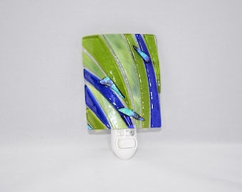 Fused Glass Night Light, Blue and Green with Dichroic